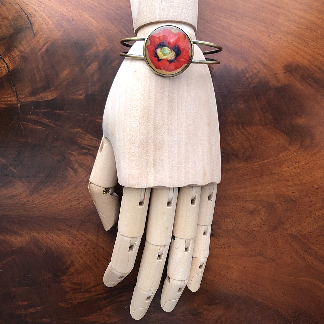 Papaver Somniferum Bracelet, 25mm glass cabochon, 2019  CLICK HERE TO PURCHASE