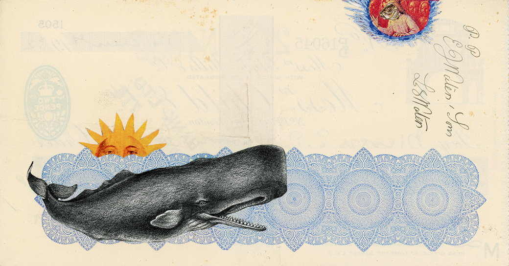 All Creatures Great and Small , Vintage and decorative paper collage on 1930's English bank check, 4 x 7.5 in. / 19 x 10 cm. 2018, Private collection
