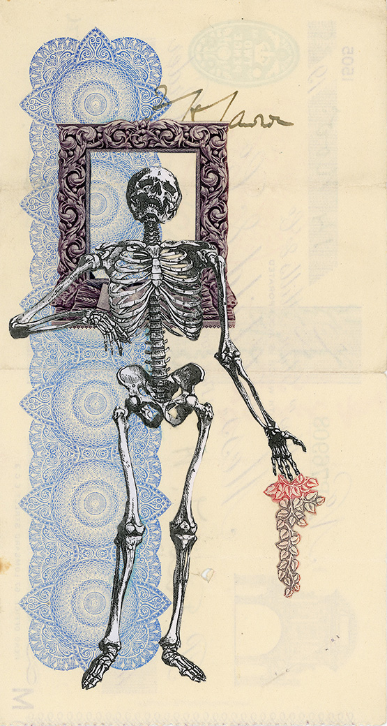 News Junkie , Vintage and decorative paper collage on 1930's English bank check, 7.5 x 4 in. / 19 x 10 cm. 2018, Private collection