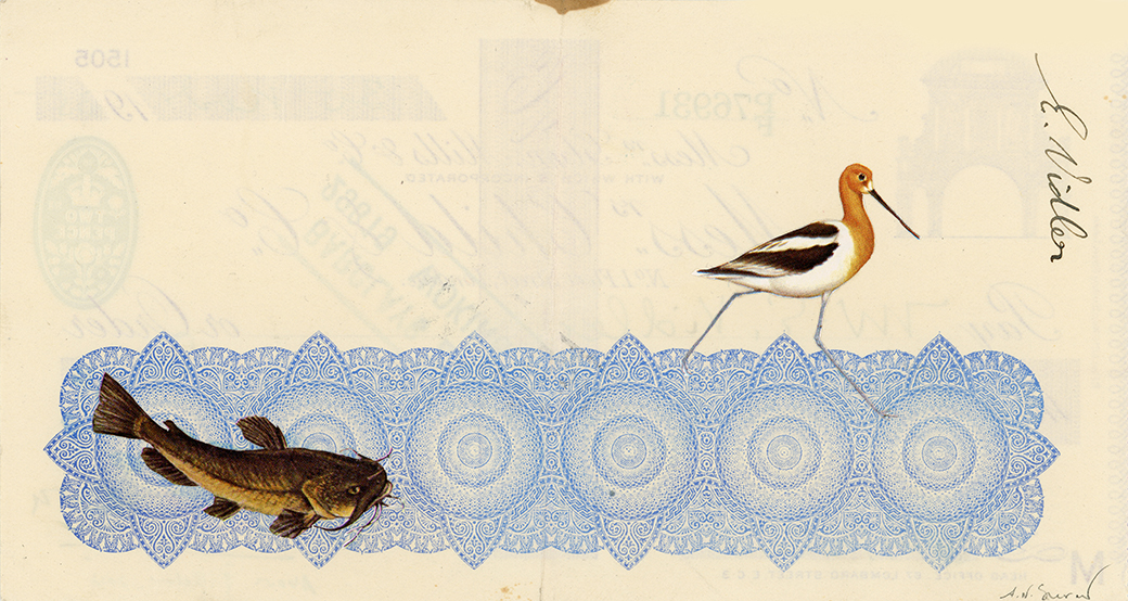 Above & Below, Vintage paper collage on 1930's English bank check, 4 x 7.5 in. / 19 x 10 cm. 2018, Private Collection