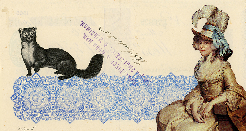 Elizabeth, Lady Taylor, Countess of Warwick, was considered to be quite accomplished in the art of aspects, bitchy resting face in particular. Little else is known of this enigmatic lady.     Vintage and decorative paper collage on 1930's bank check, 7.5 x 4 inches, 2018