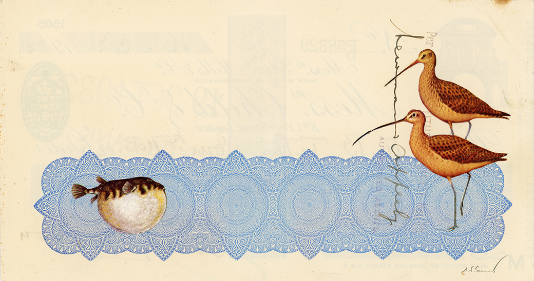 Diplomacy vintage paper collage on 1930's bank check, 4 x 7.5 inches, 2018