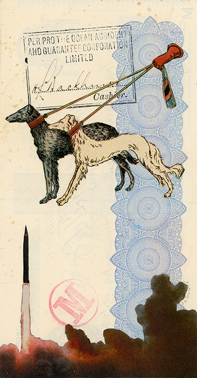 Rein in Your Dogs, Sir!  Vintage and decorative paper collage on 1930's English bank check, 7.5 x 4 in. / 19 x 10 cm. 2018