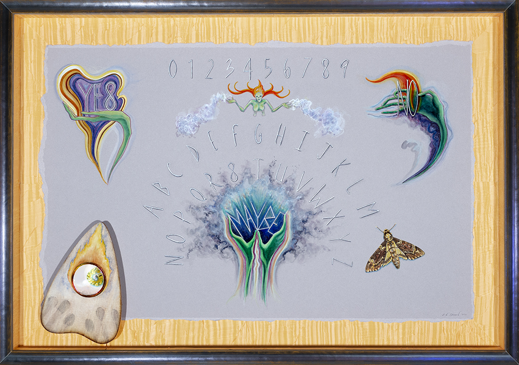 UNCERTAINTY - Ask the Spirits for 2020 Revelations…They May Answer  Watercolor, wood, glass, gold leaf, silk, on 2 ply museum board