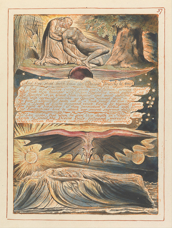 "William Blake, Jerusalem Plate 37 ""And One Stood Forth…"" 1804-1820 (image courtesy Google Art Project)"