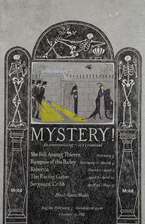 Edward Gorey, Mystery, poster for Masterpiece Theater (Flickr)