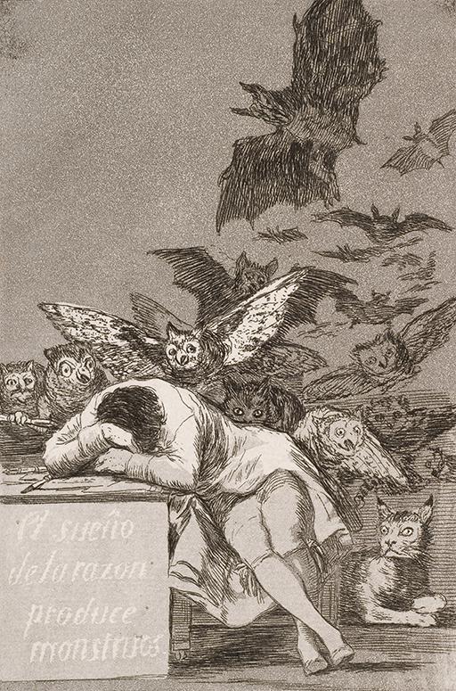 Francisco José de Goya y Lucientes - The sleep of reason produces monsters (No. 43), from Los Caprichos, Google Art Project