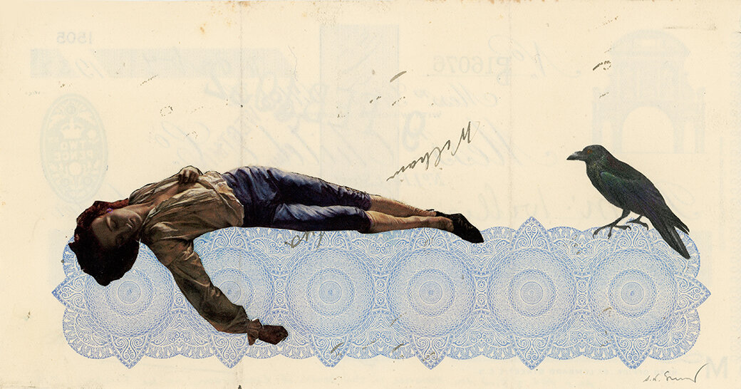 As I Age I Find the Romance of The Death of Chatterton Diminishes , 2018, Vintage paper collage on 1930's bank check, 7.5 x 4 inches