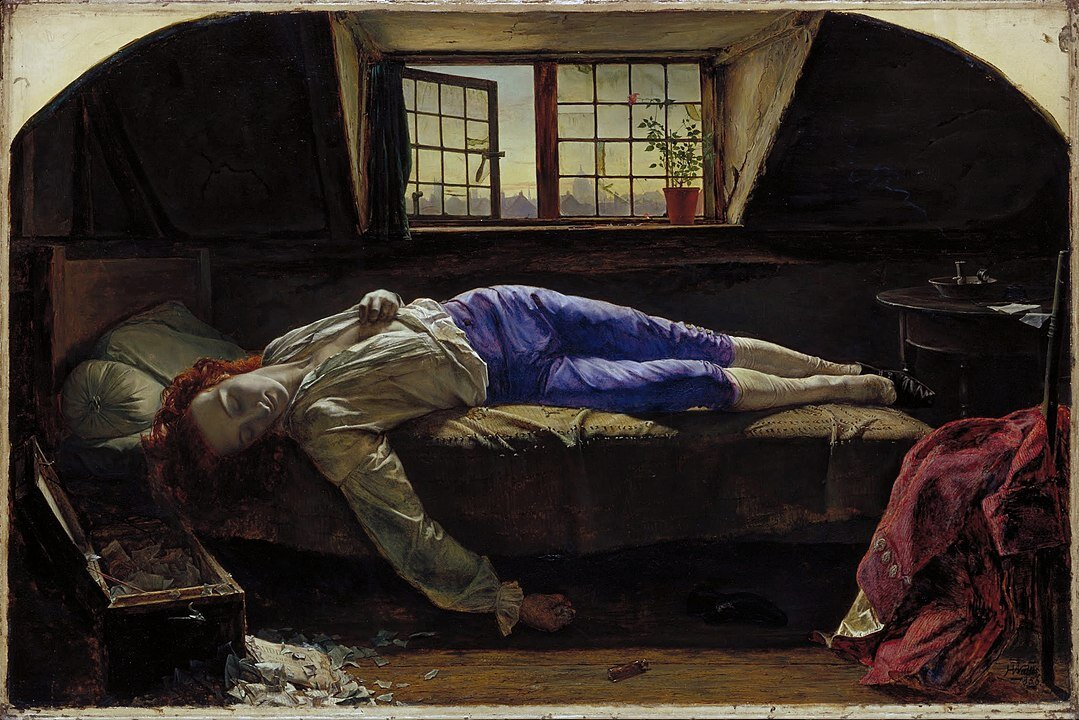 The Death of Chatterton, Henry Wallis, 1856, Tate Britain, Image courtesy Google Art Project