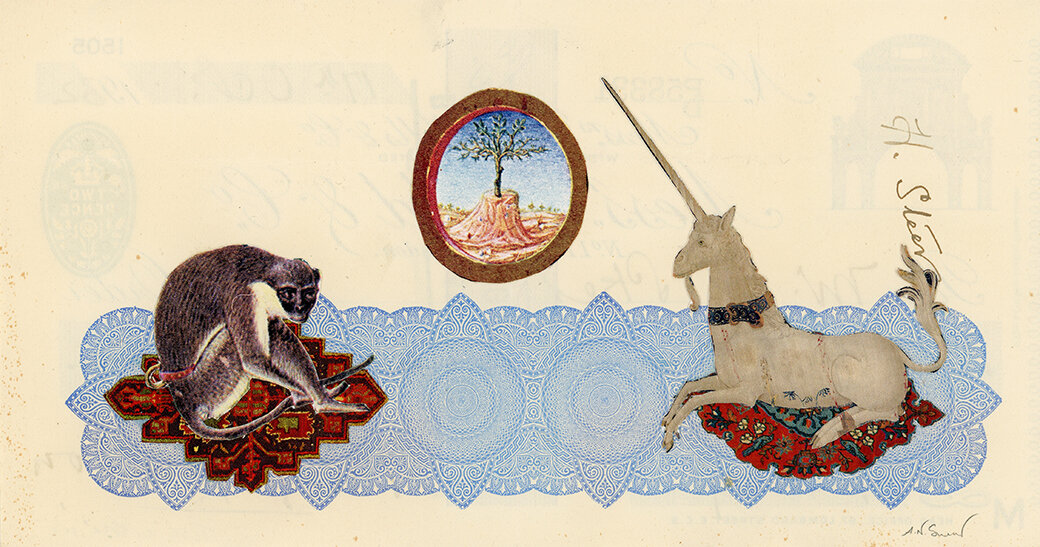 Tête-à-tête, 2018, vintage paper collage on 1930's bank check, 4 x 7.5 inches, Private collection