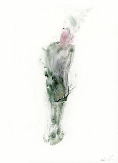 Continual Calcination, 2019, Watercolor on yupo, 12 x 9 inches