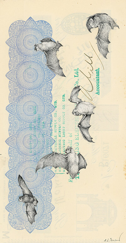 The Sleep of Reason, 2018, vintage paper collage on 1930's bank check, 7.5 x 4 inches