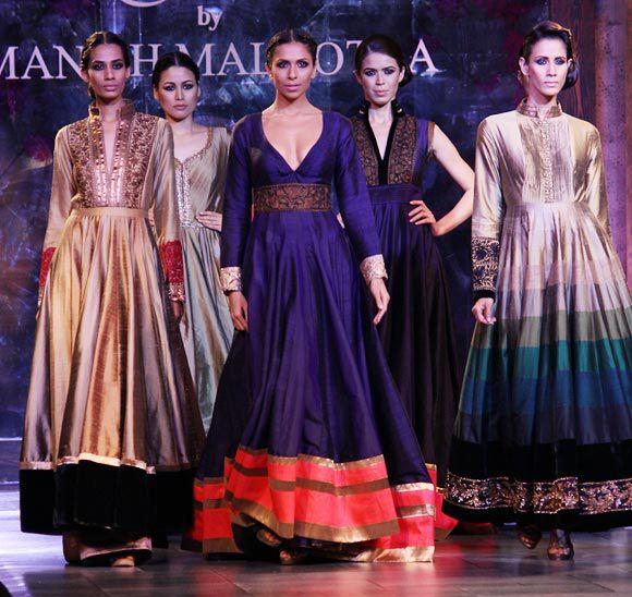 Elaborate wedding fashions, including anarkali styles, from Manish Malhotra