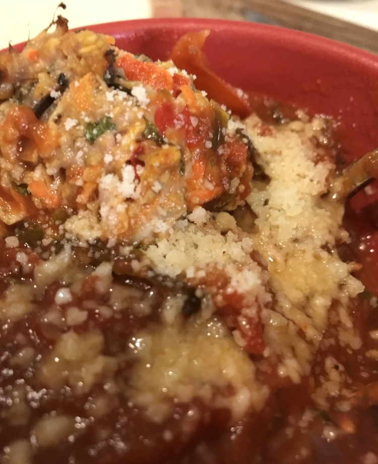 Baked turkey meatballs (oatmeal, carrots, eggs, bell peppers & kale) in Spicy Marinara with Parmesan