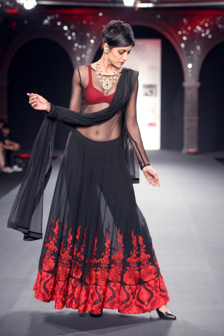 A vibrant lehnga is a study in contrasts