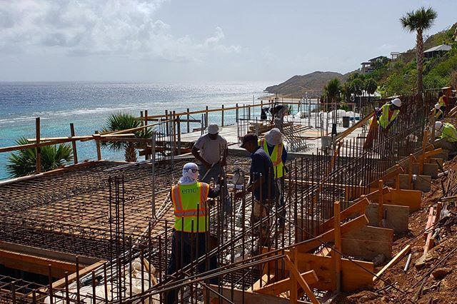 Construction really humming along on our Oil Nut Bay Residence. First floor slab pour in progress. . . #architecture #interiordesign #construction #design #caribbean #bvi #bvistrong #villa #beachvilla @archdaily @architizer @archdigest @archrecordmag
