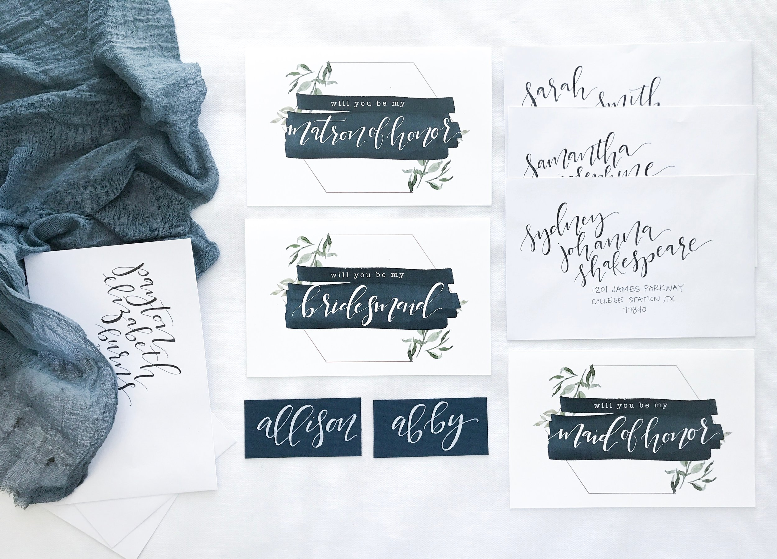 Matron/ Maid of Honor and Bridesmaid Asking Cards