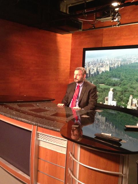 Joel waiting for his debut on MSNBC's Hardball with Chris Matthews May 2, 2013
