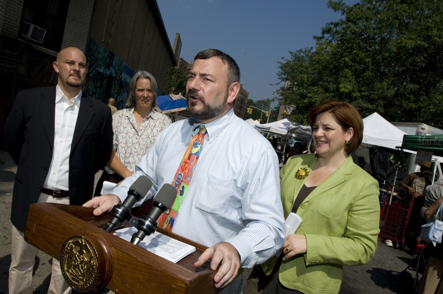 Joel at a press conference with the Hon. Christine Quinn, Speaker of the New York City Council.