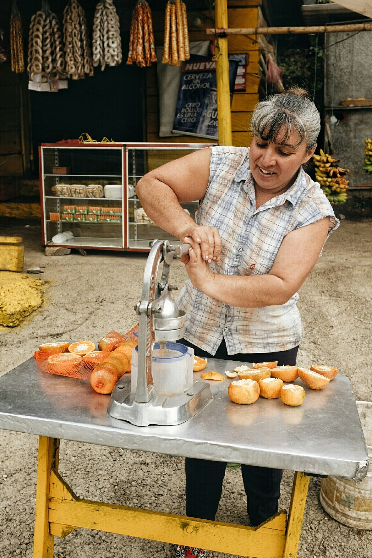 Freshly squeezed mandarin juice. Energizing, cheap and oh so good.