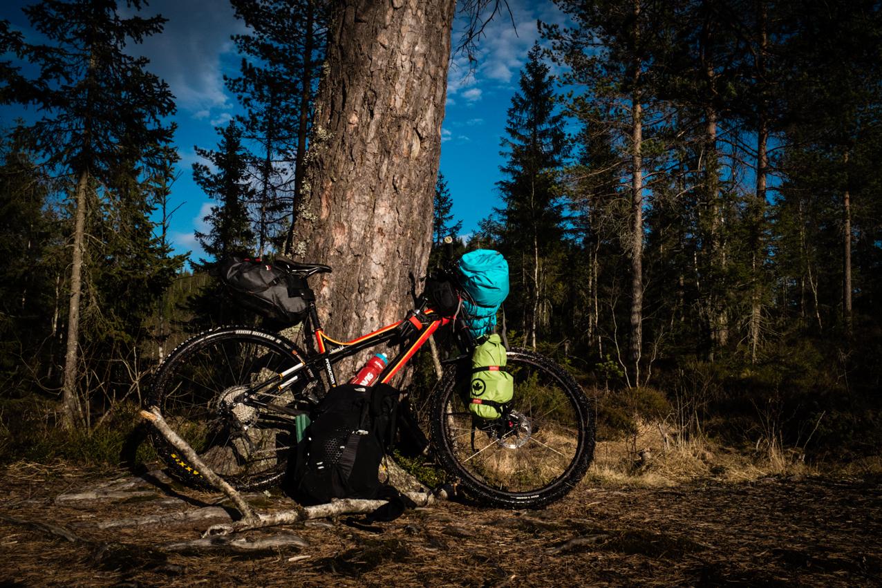 The bikepacking setup.