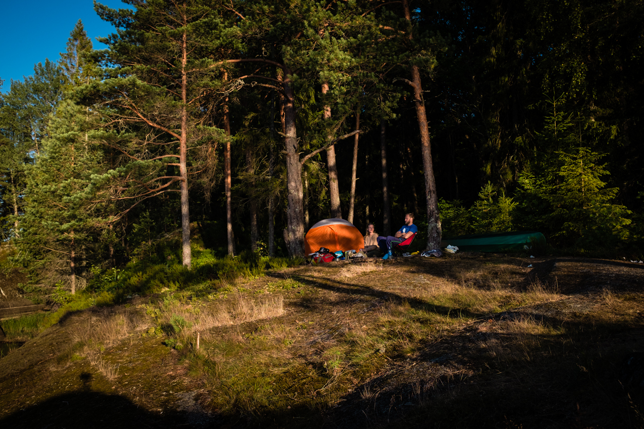 Teltplass ved Farris.