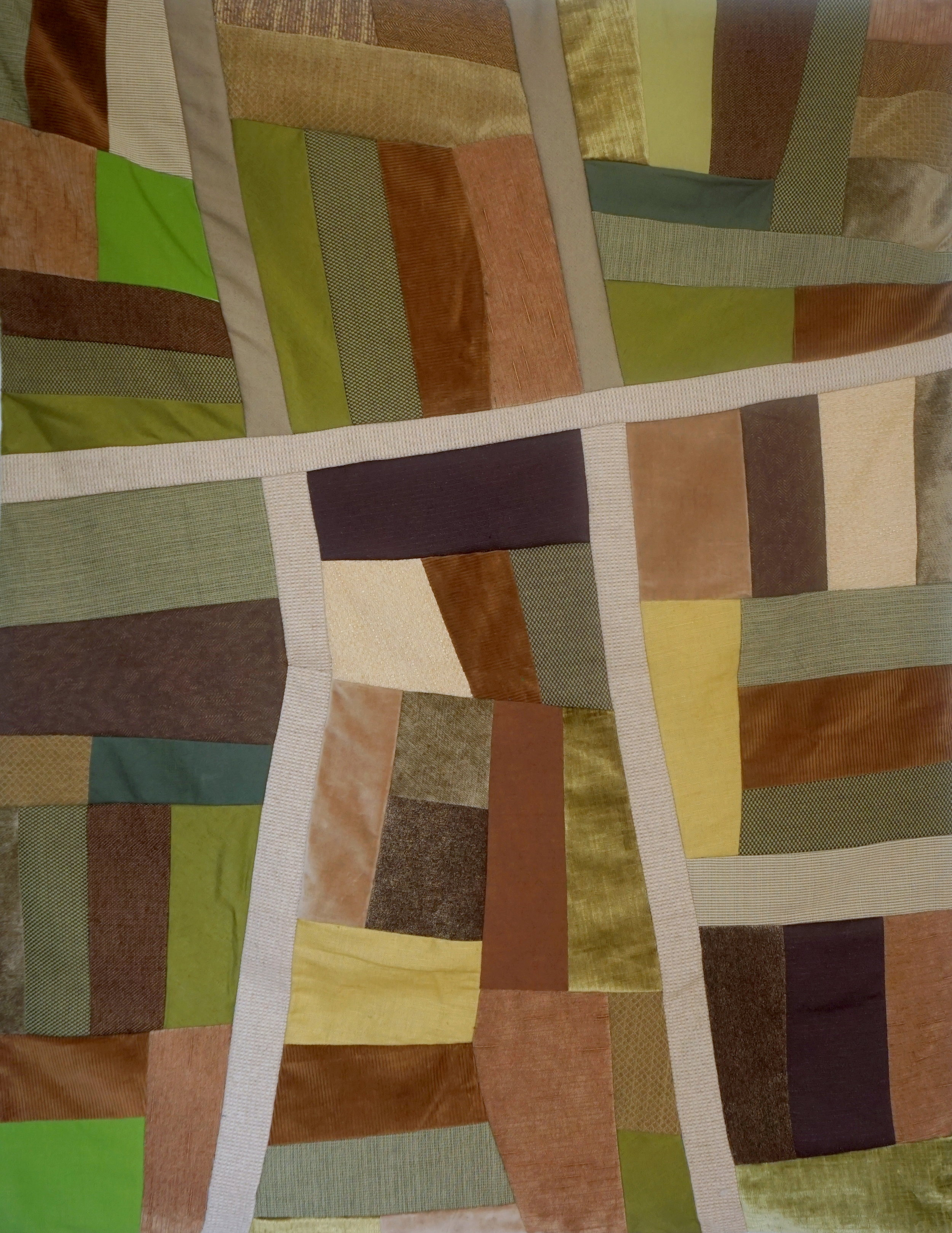 Farmland Quilt - 37 x 45various salvaged fabrics and thread, salvaged battingThis quilt was inspired by plane flights over Iowa and central Pennsylvania.