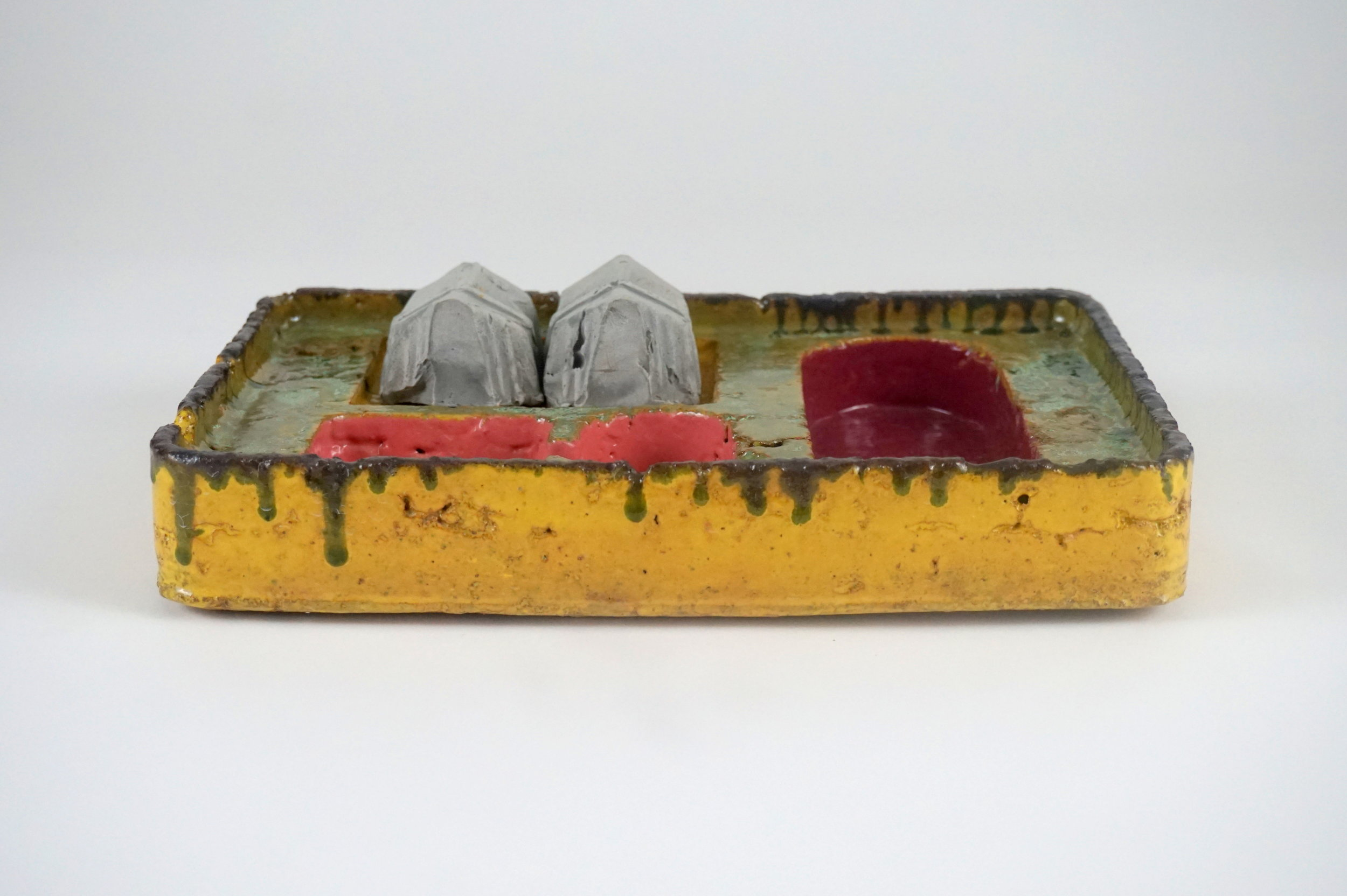 Pig Farm Desk OrganizerPig Farm Desk Organizer - 12.5 x 9 x 3reclaimed earthenware brick clay, waste glazes, reclaimed stained casting slipWith removable Pig Shed Paperweights