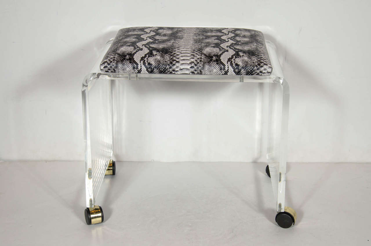 Mid Century Modernist Waterfall Form Lucite Stool With Faux Python Upholstery High Style Deco