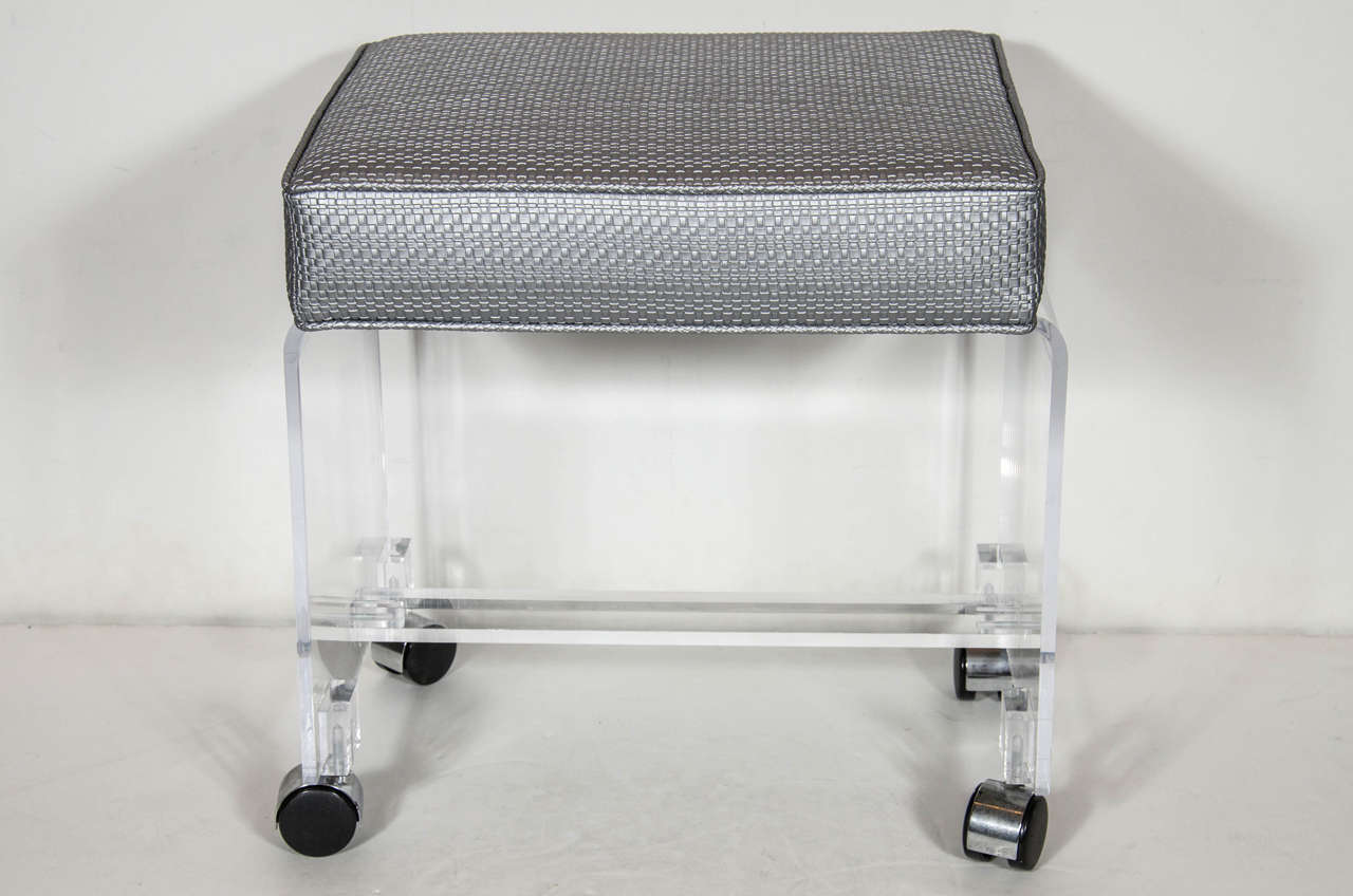 Mid Century Modernist Waterfall Lucite Stool In Platinum Metallic Textured Woven High Style Deco