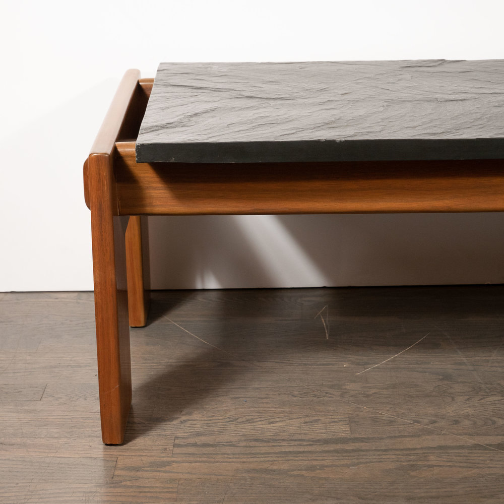 Mid Century Modern Slate Top Cocktail Table With Hand Rubbed Walnut Base High Style Deco