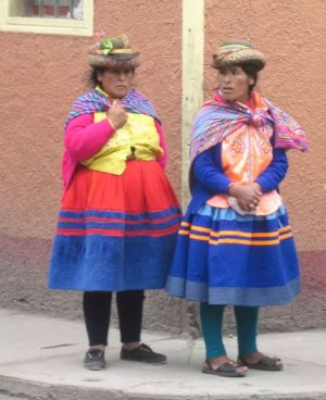 Women from a nearby village waiting near the main Ayacucho city market, 2013.