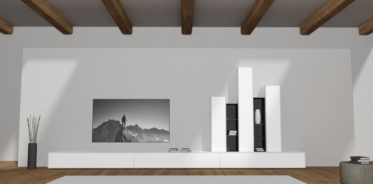 Zes meter breed minimalistisch TV meubel op voetjes in een modern landelijke interieur.