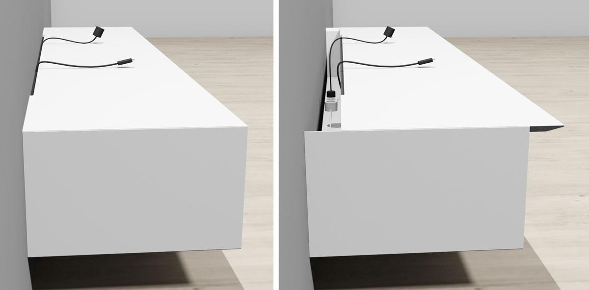 Kabeldoorvoer functionaliteit in het TV meubel.
