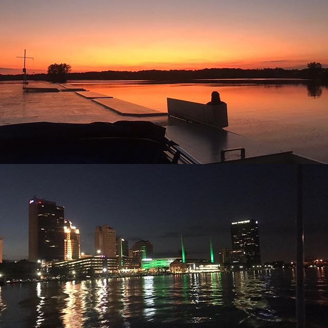 This Sunday sunset and city lights cruise! Call us at 419-537-1212 or go to our website www.sandpiperboat.com #sandpiperboat #weekendfun #familynight #utlakeeriecenter #sunsetandcitylights