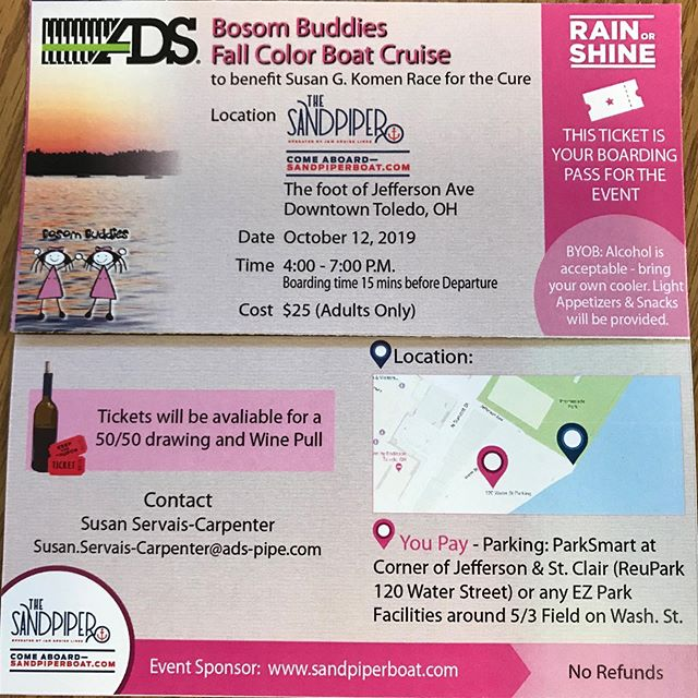 Our good friends the bosom buddies are putting on a cruise!  Please come out and support them! We love 💕 our friends the bosom Buddies. Contact Susan.servals-Carpenter-Pope.com for tickets information.💕