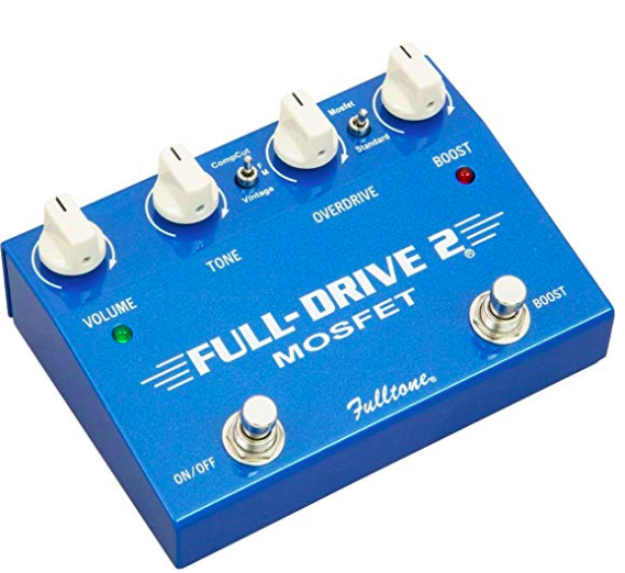 Fulltone Full-Drive 2 - I use this for sort of a medium gain/ in-between overdrive. It has a really warm, full feeling overdrive and a boost! On mine the boost has been modded so I can use it without the drive being tuned on.