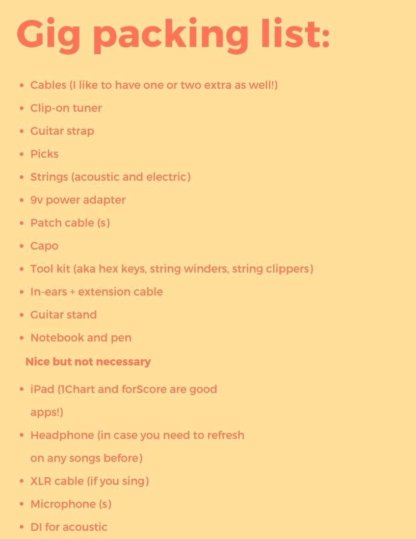 Gig bag packing list