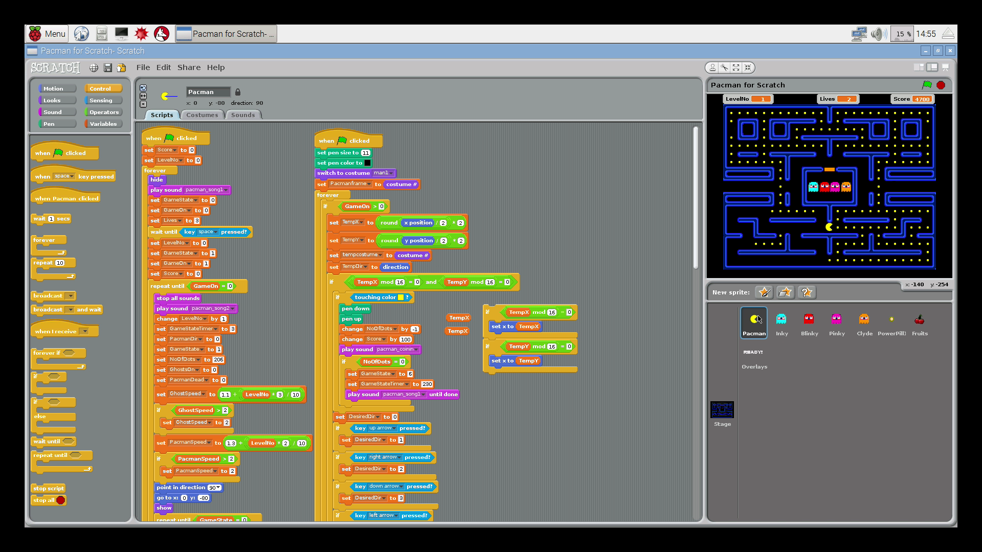 Pac Man as created in Scratch
