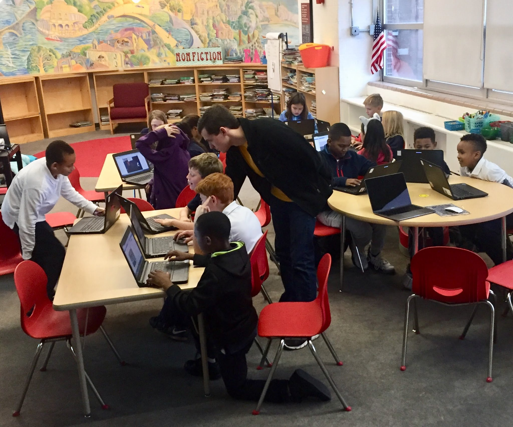 Code4Life participants at Maury Elementary in Washington, DC working hard.