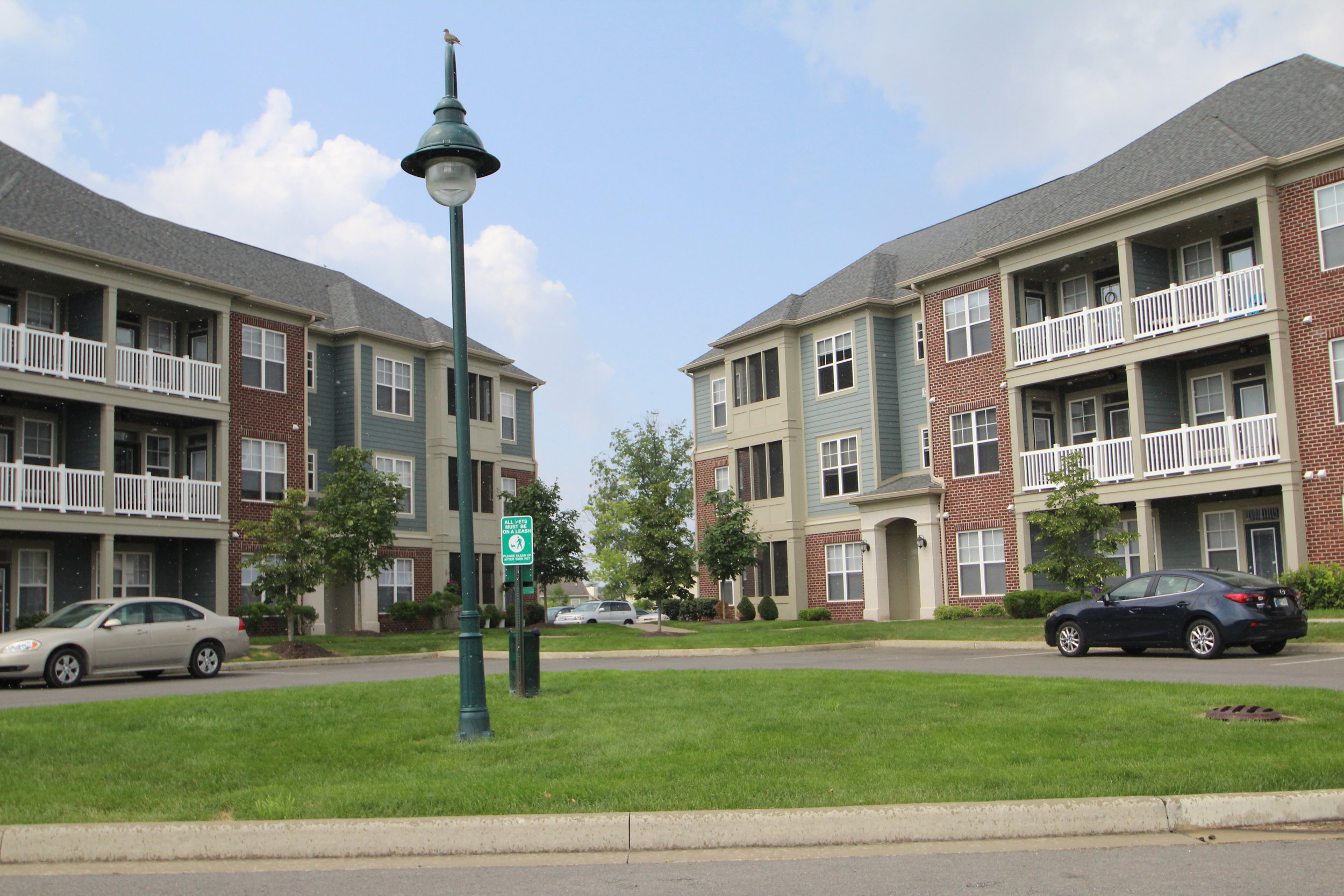 Apartments in Fishers The District two apartment buildings.JPG