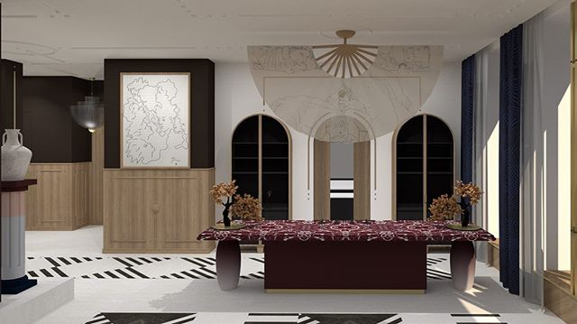 WOKrea design @wokrea #diningroom #china #eurasianstyle #interior #luxurydesign #3d #loveofdesign #onlylyon #parisclient #london #international