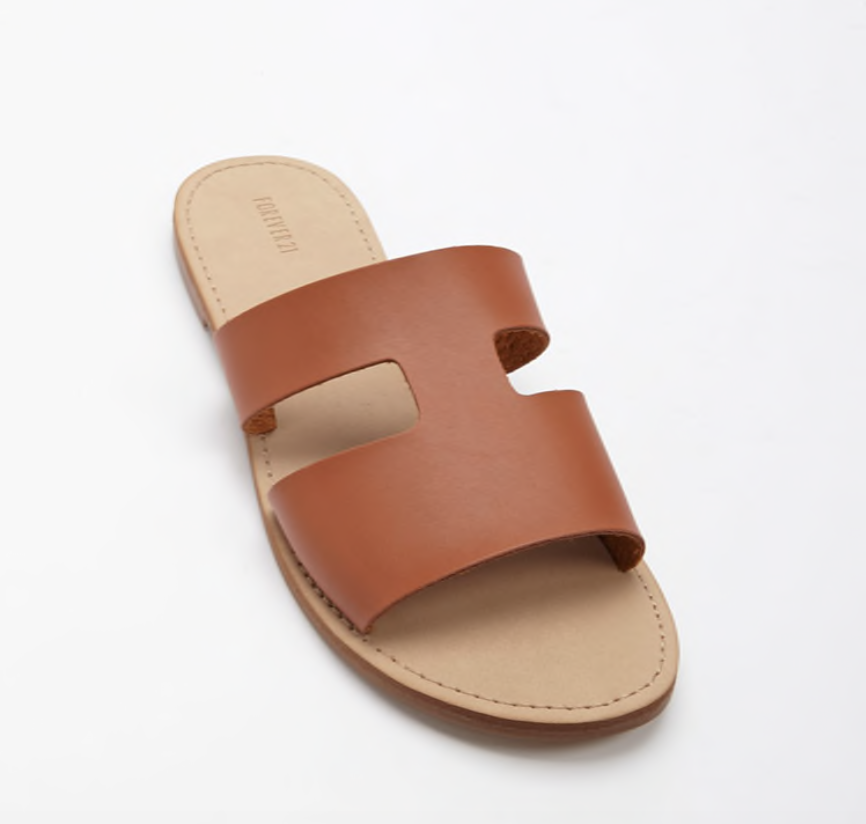 $12.90 - Faux Leather Cutout Slides / Forever 21 - color: Tan