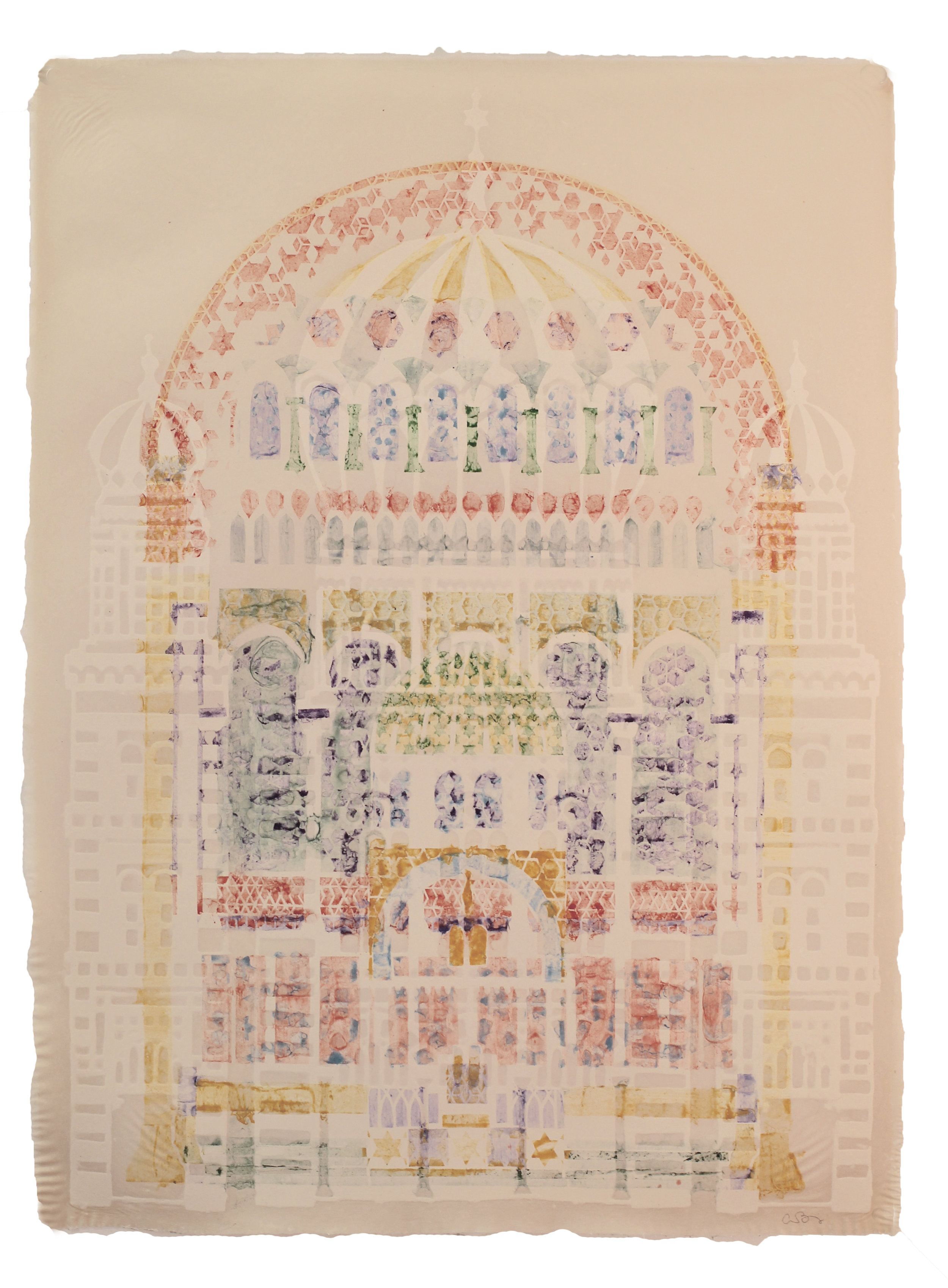 Anna Benjamin   Neue Synagogue I  Cotton blowout and pigmented linen pulp paint on abaca  30 x 22 inches  Boi v'Shalom | Come in Peace