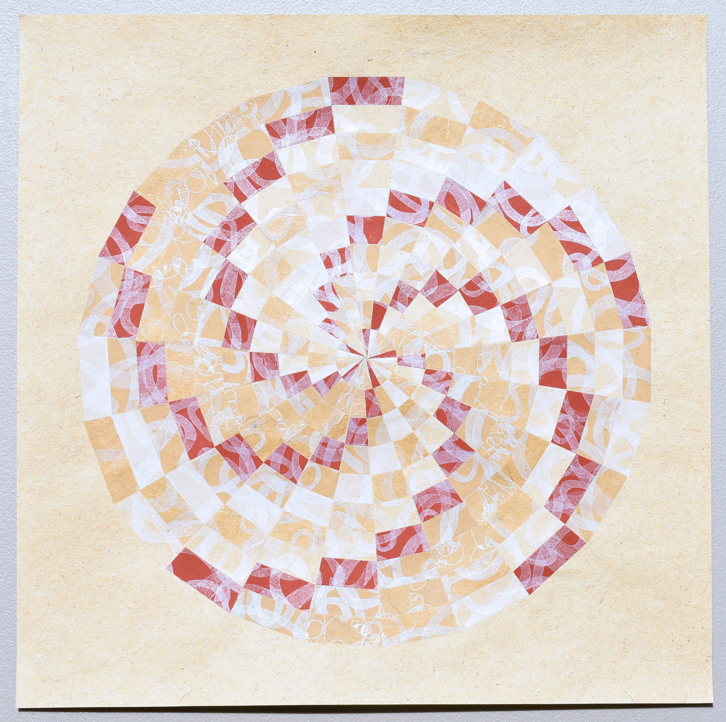 "Suzanne Sawyer   Revolution Quilt  Letterpress printed handmade paper, including abaca, flax, and other plant fibers  16x16""  2019"