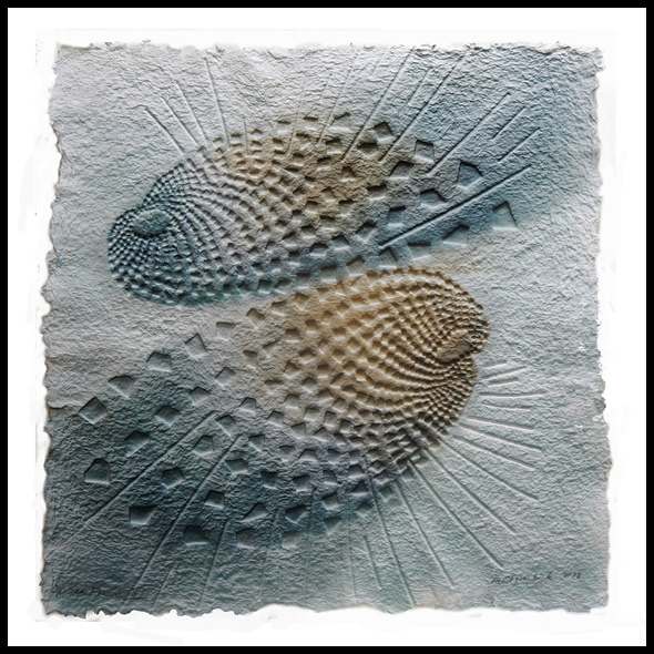 "Marjorie Tomchuk   Sea Fossil II  Pressed paper/embossing. hand colored with fabric dyes  22"" x 22""  2018"