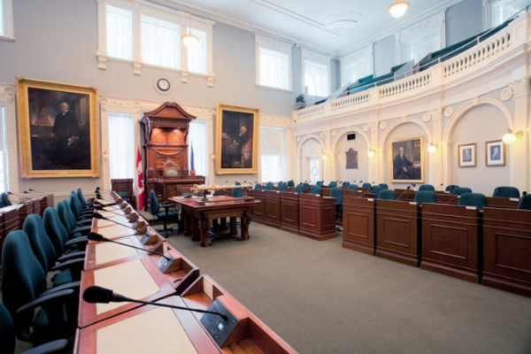 The Legislative Chamber from the government benches on the west side.   Credit:  M. James MacNutt, 2009 via nslegislature.ca