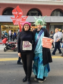 At the Los Angeles Women's March, January 21, 2017. With my dear friend Lady Liberties.