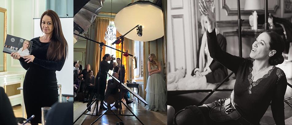 Sue Bryce Workshop - Paris - Abril 2.016. Sue, sosteniendo mi folleto Personal Branding, como ejemplo de marketing de servicios fotográficos.