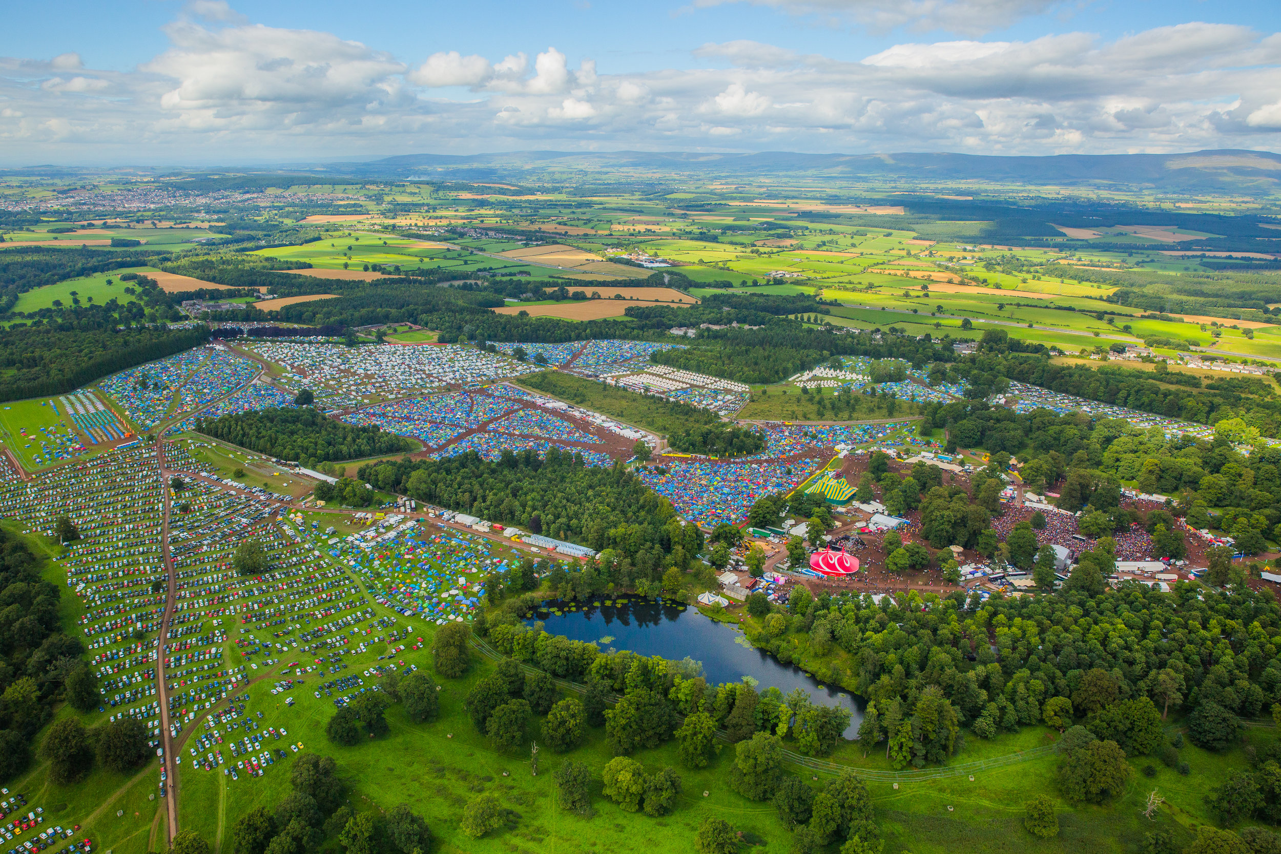 KENDAL CALLING FESTIVAL 2017 - CAMPING SITE AND ARENA FROM ABOVE  PICTURE BY: JODY HARTLEY